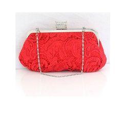 Bardzo Kobiecy Projekt Azurowej Koronki Czerwone Suknie Ślubne Torba Sukienka Torba Sprzeglo Torebki Kopertówki [5915040046] - Veaul.com