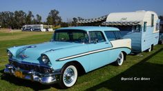 1956 Chevrolet Bel Air Nomad and Shasta travel trailer at Steve McQueen Car and Motorcycle Show 2014: http://www.specialcarstore.com/content/steve-mcqueen-car-motorcycle-show-2014-workin-progress
