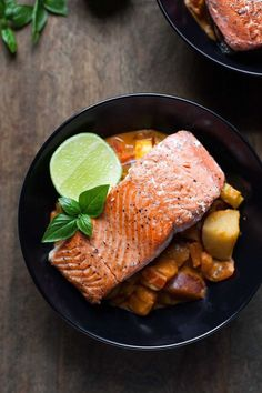 Seared Salmon with Red Curry Vegetables (Gluten free, Paleo)