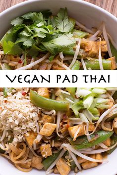 Vegan Pad Thai - Thick rice noodles, crispy tofu, pea pods, & bean sprouts tossed with an absolutely DIVINE vegan sauce of tahini, tamarind, shoyu, lime, almond butter and a slew of spices.  I bow to this sauce:-))