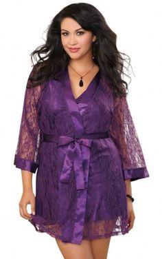 36a0c762b36 Plus Size Plum Lace Robe   Flirty Babydoll Made Clothing