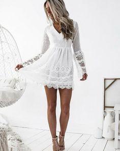 V-neck White Lace A-line Short Homecoming Dress Champagne Homecoming Dresses, Long Sleeve Homecoming Dresses, Homecoming Dresses Long, Elegant Prom Dresses, Dresses Short, Sweet 16 Dresses, Short Prom, Formal Dresses, Wedding Dresses
