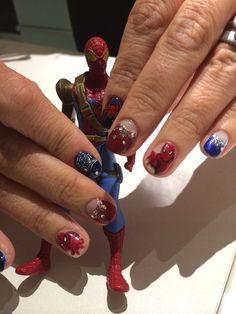 www.joliarts-salon.com Nail salon in Shirokane, Tokyo JoliNails Hand-painted Spiderman