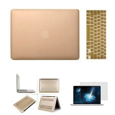 """iClover Laptop Rubberized Hard Cover Case Keyboard Skin For Apple MacBook Air 11 inch 11.6'' Frosted Matte Rubber Coated Rubberized See Thru Hard Snap On Case for Apple 11.6"""" inch Macbook Air -Silicon Keyboard Cover - Clear LCD Screen Protector (Champagne Gold) iClover http://www.amazon.com/dp/B00JL7K61Q/ref=cm_sw_r_pi_dp_422.tb1ZY21MQ"""
