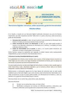 Documento de apoyo sobre la estructura, el orden secuencial yel grado de interactividad en la narración digital, correspondiente a la unidad 4 del MOOC de @edu… Narrativa Digital, Digital Storytelling, Ideas, Scripts, Unity, Degree Of A Polynomial, Learning, Literatura, Thoughts