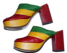 années 1970 plate-forme chaussures Sz 7,5-8M