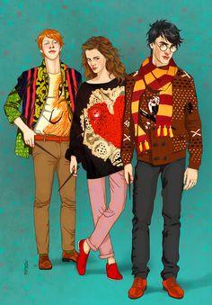 <3 ron, hermione, harry!