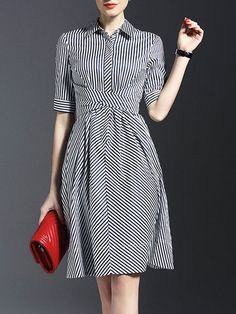 Dark Blue Shirt Collar Stripes Half Sleeve Bow Shirt Dress sold by Bilkis. Shop more products from Bilkis on Storenvy, the home of independent small businesses all over the world. Pretty Dresses, Beautiful Dresses, Day Dresses, Dresses For Work, Midi Dresses, Dress Skirt, Dress Up, Swing Dress, Dark Blue Shirt