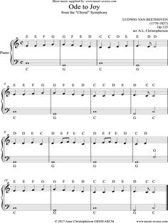 Ode to Joy: Symphony: easy piano sheet music notes by Ludwig van Beethoven: Piano - Piano Notes For Beginners, Beginner Piano Music, Easy Sheet Music, Easy Piano Sheet Music, Music Sheets, Piano Sheet Music Classical, Piano Music With Letters, Piano Music Notes, Sheet Music Notes