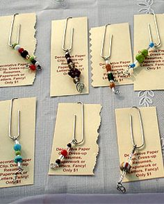 Paper clip dangles, decorative paper clips, Lynn Lamousin Paperclip Crafts, Paperclip Bookmarks, Beaded Bookmarks, Ribbon Bookmarks, Wire Crafts, Bead Crafts, Paper Crafts, Gem Clip, Paper Clip Art
