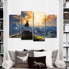 Canvas Pictures Wall Art HD Prints Home Decor 4 Pieces The Legend of Zelda Poster Abstract Game Paintings Living Room Framework Panel Wall Art, Framed Wall Art, Canvas Wall Art, Canvas Paintings, Canvas Picture Walls, Canvas Pictures, Legend Of Zelda Poster, Toile Photo, Painting Of Girl