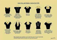 Para que sepas que tipo de collar usar de acuerdo al escote de tu blusa o vestido, combinar los accesorios correctamente resalta cualquier vestimenta por sencilla que ésta sea