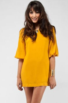 Samantha Dress in Marigold $44 at www.tobi.com