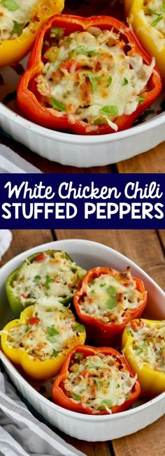 These White Chicken Chili Stuffed Peppers are easy, baked up in the oven, and on the healthy side for a perfect delicious dinner!