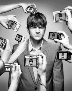 Ashton Kutcher - cool photo idea, would like to try this #photography #monochrome