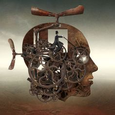 Graphic-artist and illustrator Igor Morski has created impressive surreal illustrations with a photo-real approach. Really well-composed, surreal mastery. Magritte, Steampunk Kunst, Steampunk Artwork, Art Du Monde, Kunst Online, Surreal Artwork, Surreal Portraits, Photo Images, Surrealism Painting
