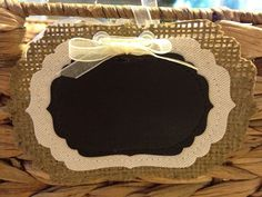 Name tags . . . Burlap Chalkboard Tags / Labels Fancy by HappilyHandmadeDecor, $13.00