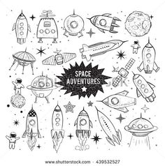Collection of sketchy space objects isolated on white background Space ships rockets space shuttle planets flying saucers astronauts etc Space Drawings, Art Drawings, Kritzelei Tattoo, Tattoos, Auto Illustration, Planet Tattoo, Planet Drawing, Rocket Tattoo, Space Doodles
