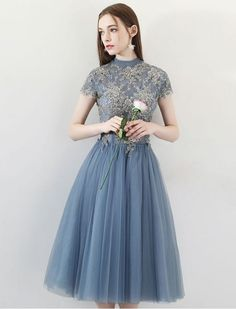 High Neck Lace Applique Short Prom Dress - Blue Hipster Prom Dresses, Retro Prom Dress, Cheap Homecoming Dresses, Blue Tea Dresses, Pretty Dresses, Vintage Dresses, Short Long Dresses, Short Prom, Christmas Cocktail