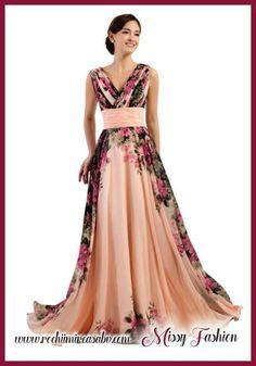 Rochie de ocazie lunga, rochie de culoarea piersicii cu imprimeu floral