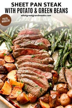 6 reviews · 35 minutes · Gluten free · Serves 3 · Whole30 sheet pan steak and potatoes with green beans is a complete meal that's delicious and flavorful. It's a 30 minute sheet pan dinner that's easy to make and even easier to clean up… More Paleo Recipes, Healthy Dinner Recipes, Real Food Recipes, Clean Recipes, Cooking Recipes, Yummy Food, Easy One Pot Meals, Whole 30 Recipes, Sheet Pan