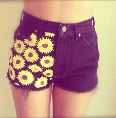 Our Half Sunflower Shorts! Available on our Etsy!