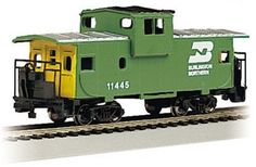 Burlington Northern 36' Wide Vision Caboose. HO Scale by Bachmann Trains, http://www.amazon.com/dp/B0006O40WE/ref=cm_sw_r_pi_dp_PK9Uqb0YPXN20