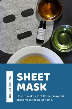 How to make a brightening sheet mask DIY at home. This natural skin care facial is inspired by Korean beauty. It has green tea and essential oils and a carrier oil for a brightening face mask. This is the best sheet mask recipe for brighter looking skin with products you can make at home. #sheetmask #diy #recipe #essentialoils