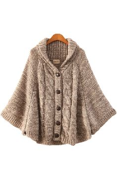 Khaki Batwing Sleeves Buttons Sweater