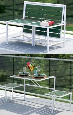 This Balcony Bench Converts to a Table for Two  #benches #balconies
