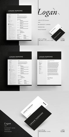 Resume / CV Template - Logan - Includes FREE Matching Business Card Design - Introducing 'Logan', a bold, clean design with a large expertise section, which includes a single page resume/cv and cover letter. Cv Cover Letter, Cover Letter Template, Letter Templates, Cover Letters, Free Business Card Templates, Resume Templates, Business Card Design, Cv Template, Website Themes