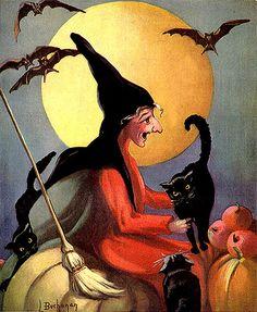 Super Duper Witch/Black Cats/Bats--Hollands--Vintage Halloween Magazine Cover
