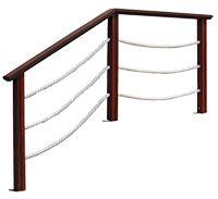 garde-corps-bois Les cordes sont en polyamide, de diamètre 35 mm, en couleur écrue.   Norme NF : en cas de hauteur de chute supérieure à 1 m, ce modèle doit être complété par du verre ou du polycarbonate.