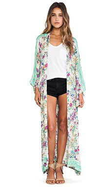 Spell & The Gypsy Collective Gypsy Queen Long Kimono in Cream Floral | REVOLVE