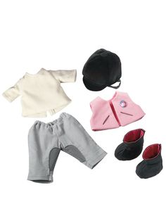 Puppen-Kleiderset Reitdress 6-teilig für 38er
