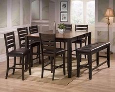 Love the bench 💙 Elliot Counter Height Dining Set Includes: Table, (4) Chairs and Bench