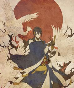 I am the moon, and the Crane is a child born of my own blood and that of his father, the fox. Anime Art Girl, Manga Art, Manga Anime, Cool Animes, Touken Ranbu Mikazuki, Anime Kunst, Boy Art, Character Drawing, Asian Art