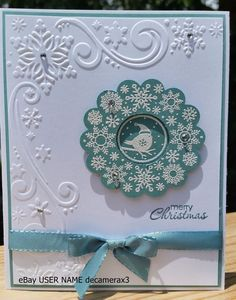 CHRISTMAS HANDMADE CARD KIT, SET OF 4 STAMPIN' UP FOUR SEASONS, SNOWFLAKES #HandmadeStampinUp #Christmas
