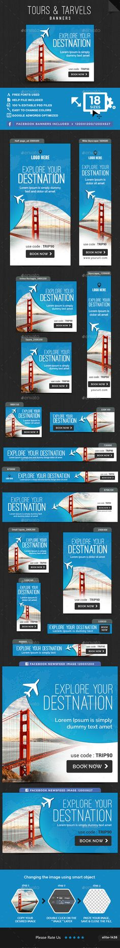 Tours & Travel Web Banners Template PSD. Download here: http://graphicriver.net/item/tours-travel-banners/15962134?ref=ksioks
