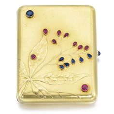 A Fabergé jewelled gold cigarette case, Moscow, 1899-1908, the lid chased with flowering sweet chestnut and inset with circular- and pear-cut rubies and sapphires, the base engraved with initials KM, cabochon sapphire thumbpiece, struck K. Fabergé in Cyrillic beneath the Imperial Warrant.