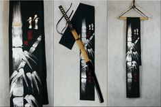 Hand painted suede sword bag - black with silver bamboos