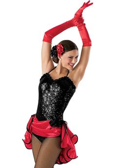 Perfect for a Sassy Jazz or Kick Line Routine with Lai Rupe's Choreography! Sequin Wired Bustle Leotard -Weissman Costumes