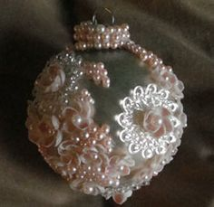 french beaded ornaments | DIY::Pearl and Lace Ornament (looks like wedding dress lace...so ...
