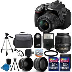 NEW Nikon D5300 Digital SLR Camera +3 Lens 18-55mm VR +Flash + 24GB Complete Kit #Nikon