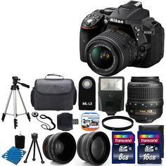 NEW Nikon D5300 Digital SLR Camera +3 Lens 18-55mm VR +Flash + 24GB Complete Kit #Nikon