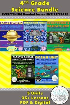 This 4th-grade science curriculum includes lesson plans, hands-on activities and experiments, worksheets, and video links. Five science units are included. #vestals21stcenturyclassroom #4thgradescience #4thgradescienceexperiments #4thgradesciencelessonplans #4thgradescienceworksheets #4thgradesciencecurriculum #solarsystemlessonplans #ecosystemslessonplans #weatherlessonplans #plantandanimalstructureslessonplans #oceanlessonplans