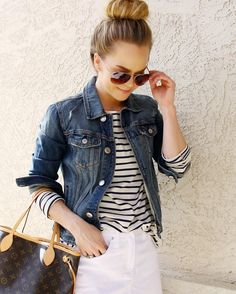 """4,971 Me gusta, 22 comentarios - Missy Cook (@missysueblog) en Instagram: """"Denim + Stripes 💙 A striped top is such a great basic & this one comes in 5 other colors! I love…"""""""