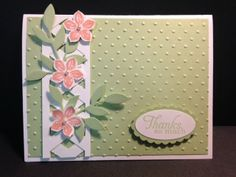 Petite Petals  Lattice Technique Stamping Techniques Stampin' Up! Rubber Stamping Handmade Cards Thank You Card