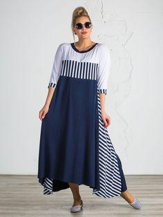 Бело-синее трикотажное платье большого размера  bohofashion fc8d3365bf8
