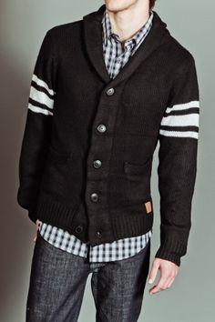 Seduka B/F Shawl Collar Stripe Sleeve and Elbow Patch Sweater Cardi Black